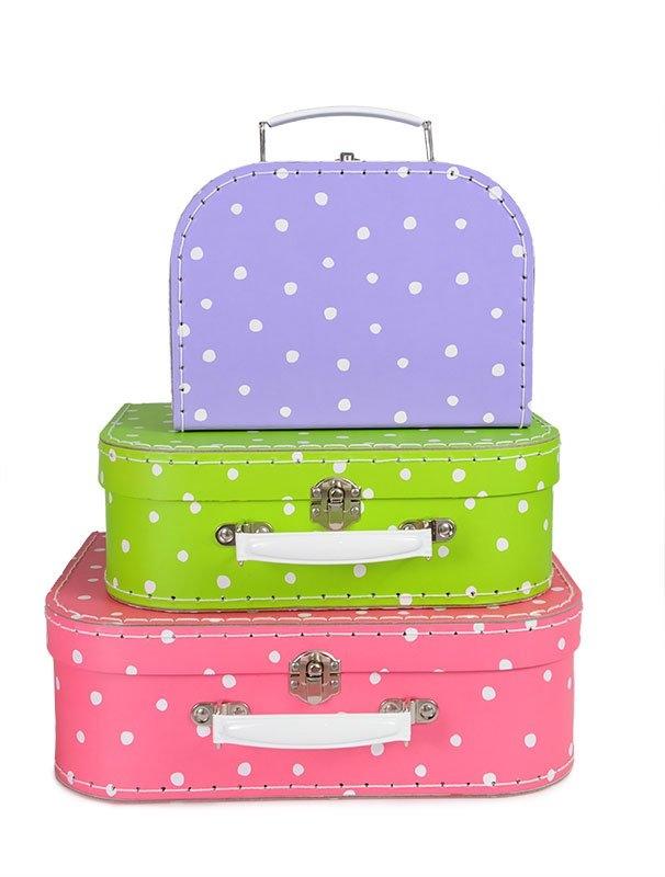 Väska lila prickig resväska i kartong liten