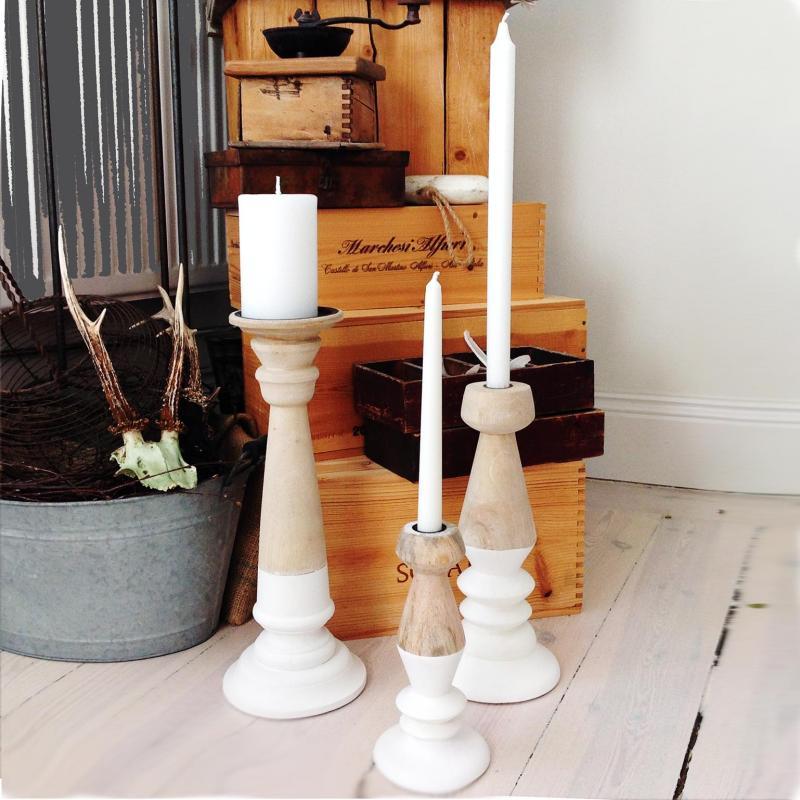 OMBRE 3 ljusstakar i trä och vitt, träljusstakar Affari