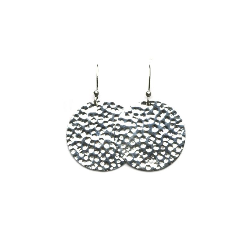 DISK EARRINGS HAMMERED SILVER