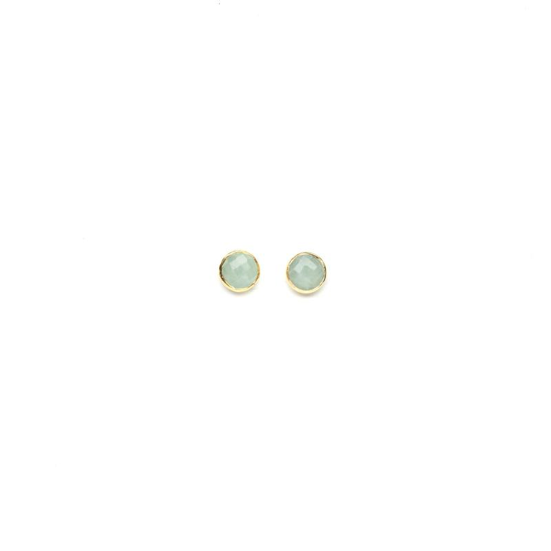 STUD EARRINGS GOLD AND MILKY AQUAMARINE