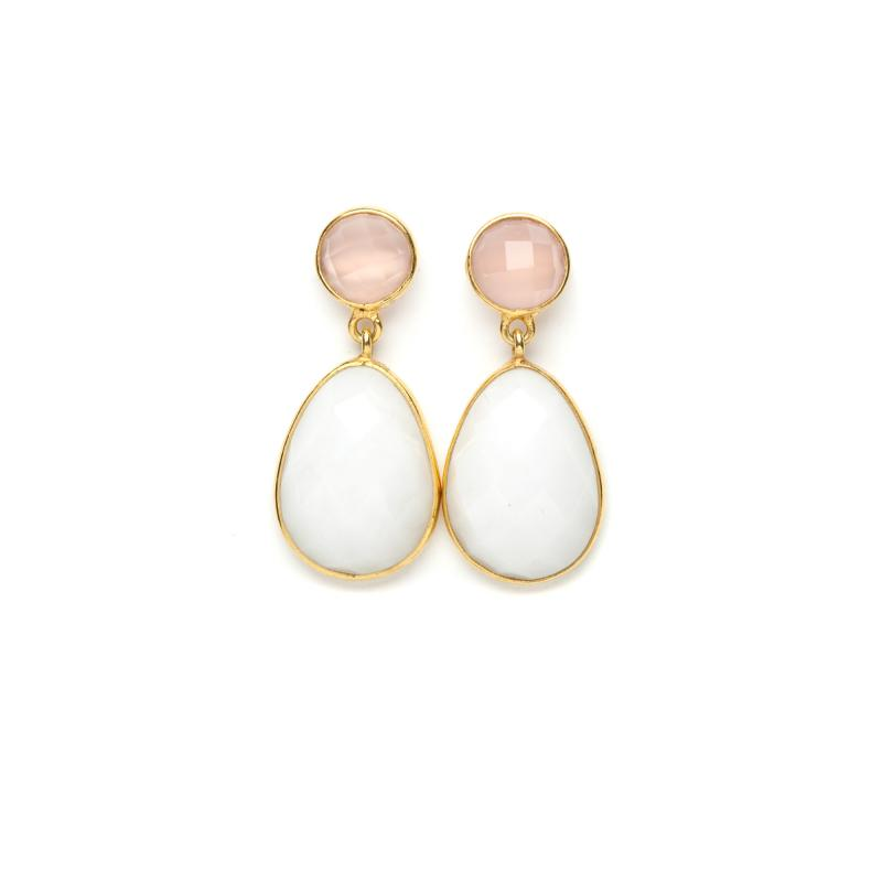 DROP EARRINGS GOLD AND WHITE AGATE AND ROSE QUARTZ