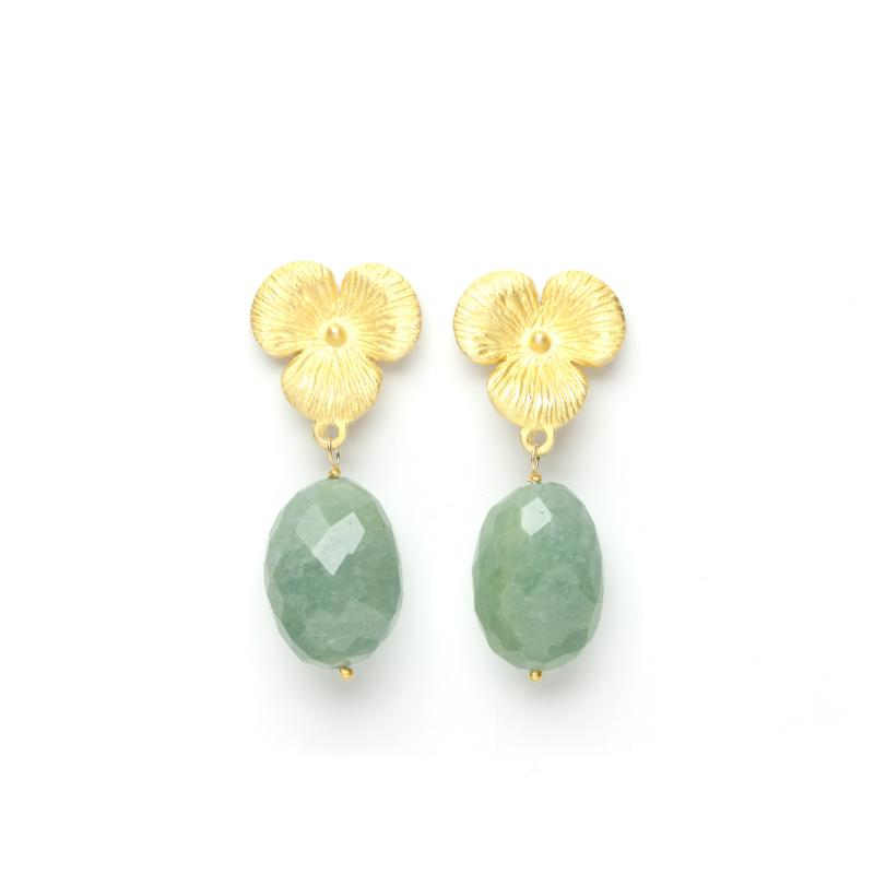 FLOWER DROP EARRINGS GOLD AND MILKY AQUA