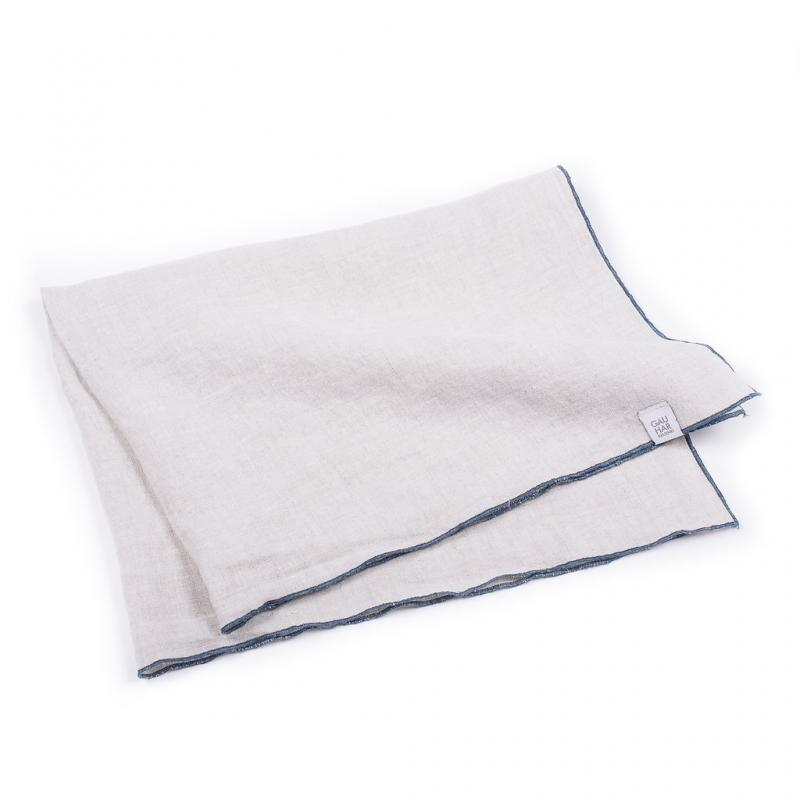 LINEN TEA TOWEL BEIGE W/ STITCHING
