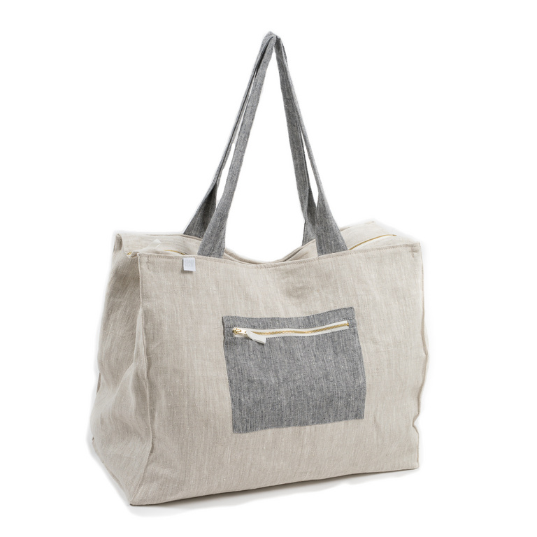 LINEN WEEKEND BAG BEIGE/GREY
