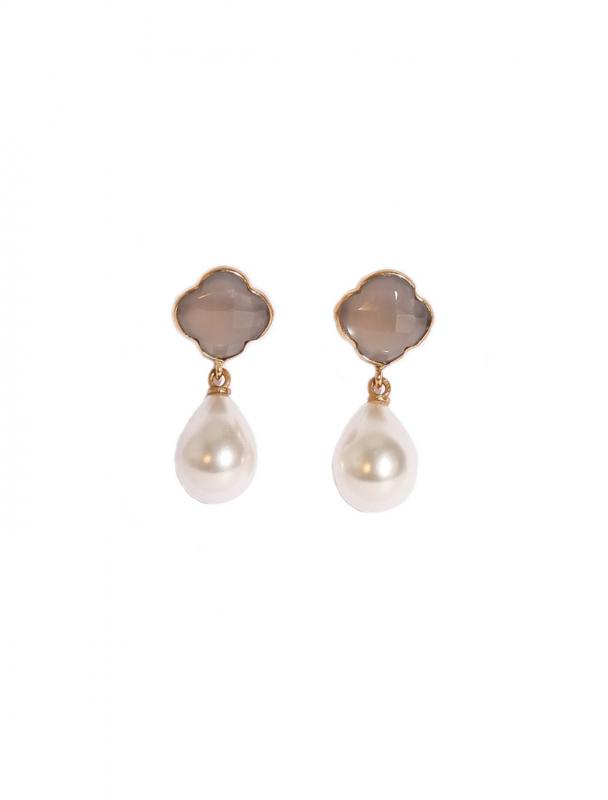 IVY EARRINGS GOLD WITH GREY CHALCEDONY AND PEARL