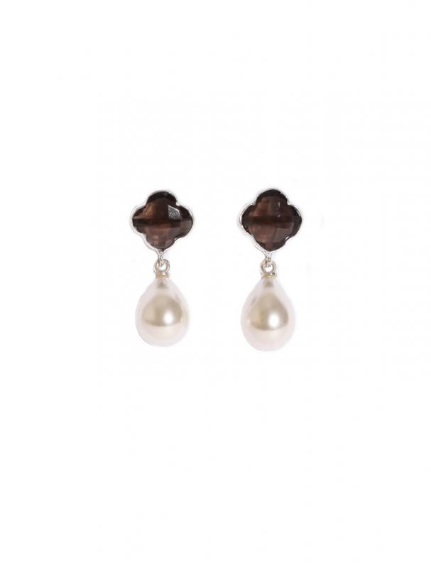 IVY EARRINGS SILVER WITH SMOKY QUARTZ AND PEARL