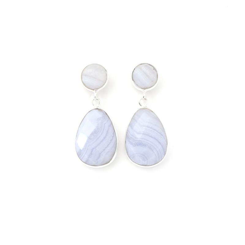 DROP EARRINGS SILVER AND BLUE LACE AGATE