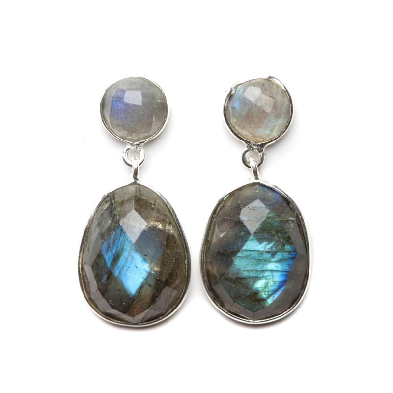 DROP EARRINGS SILVER AND LABRADORITE