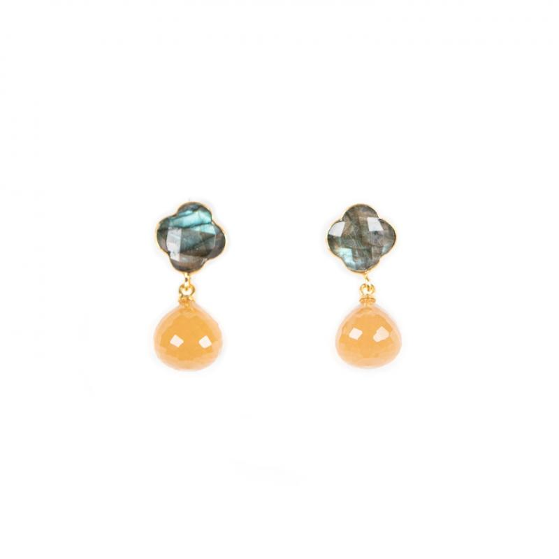 IVY EARRINGS WITH LABRADORITE AND PEACH CHALCEDONY