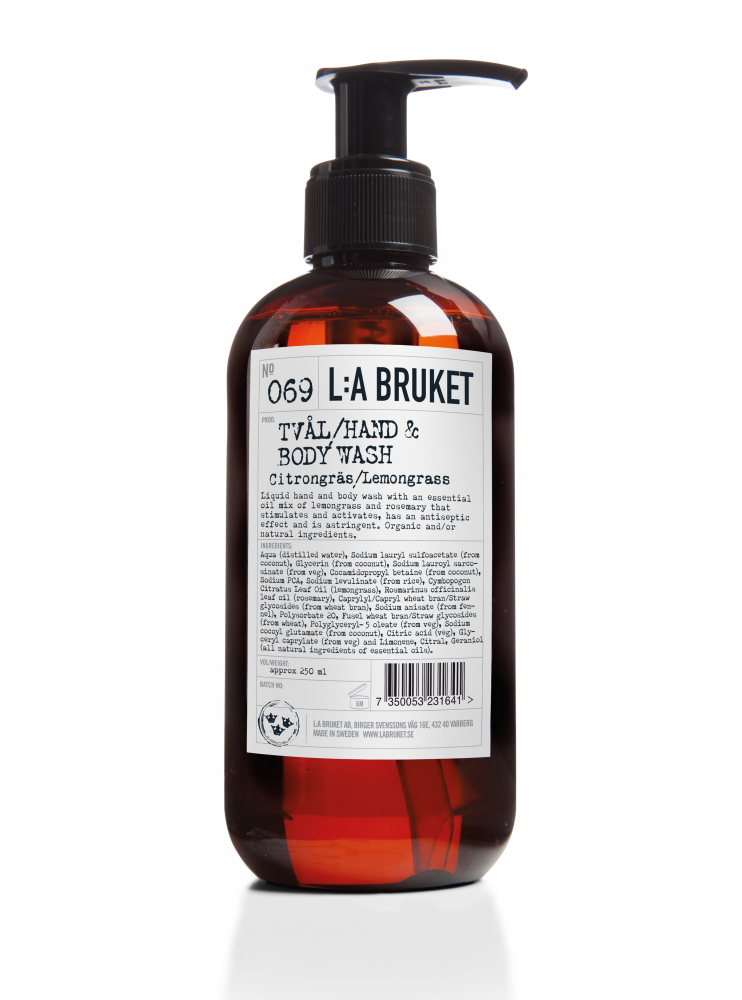 Liquid soap/body wash in a brown bottle with pump with scent of lemongrass, containing 250 ml.