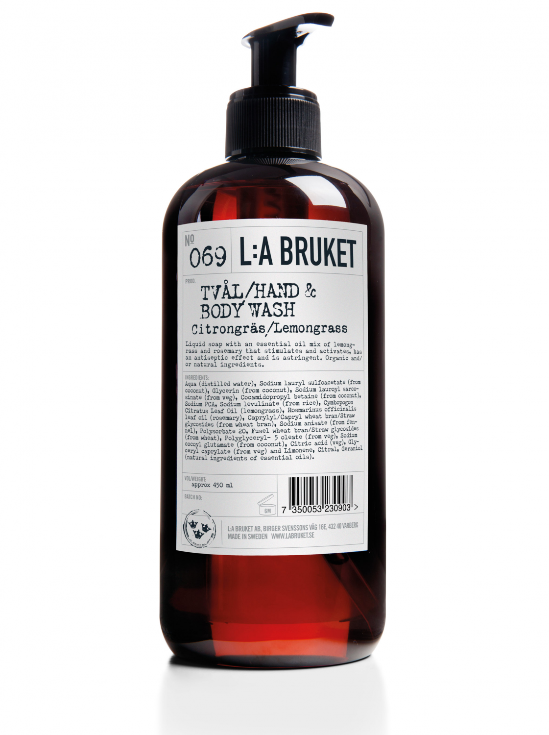 Liquid soap/body wash in a brown bottle with pump with scent of lemongrass, containing 450 ml.