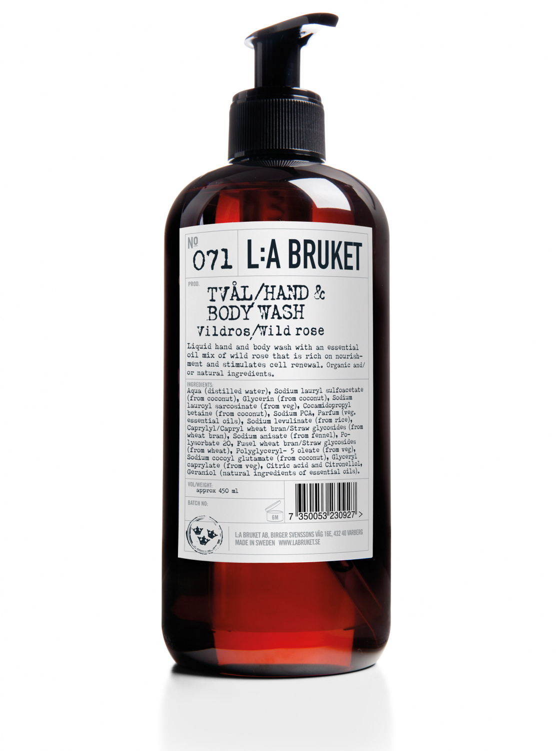 Liquid soap/body wash in a brown bottle with pump with scent of wild rose, containing 450 ml.