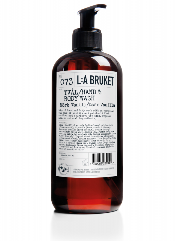 Liquid soap/body wash in a brown bottle with pump with scent of dark vanilla, containing 450 ml.
