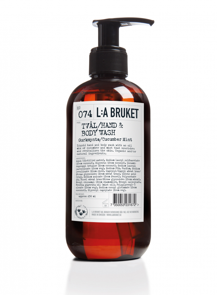 Liquid soap/body wash in a brown bottle with pump with scent of cucumber, containing 250 ml.