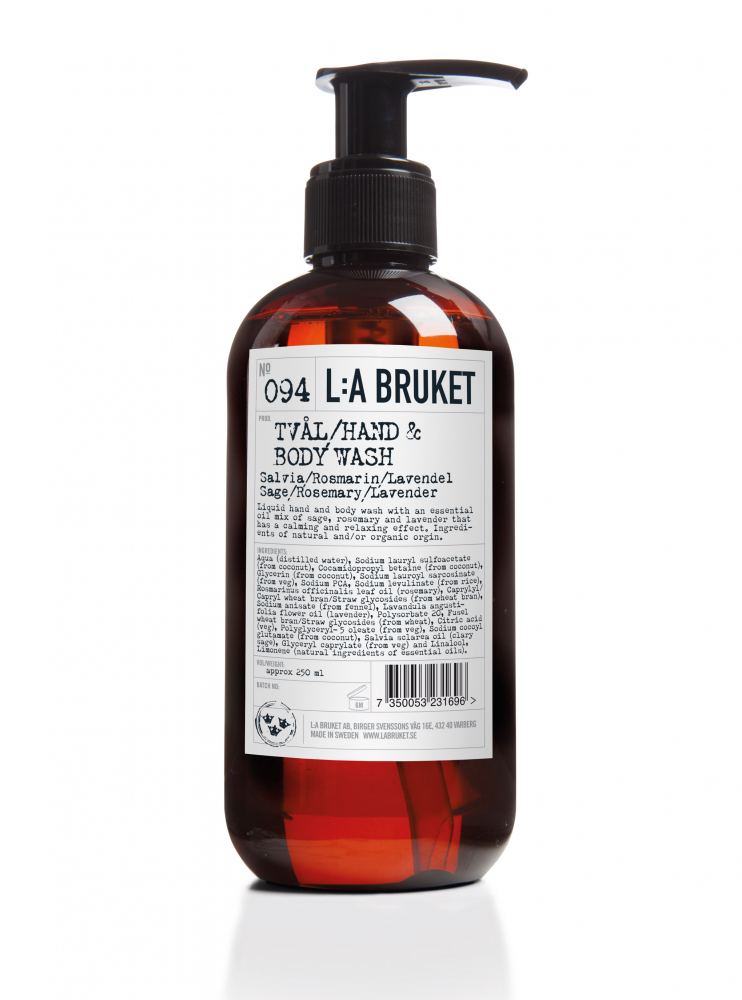 Liquid soap/body wash in a brown bottle with pump with scents of sage, rosemary and lavender, containing 250 ml.