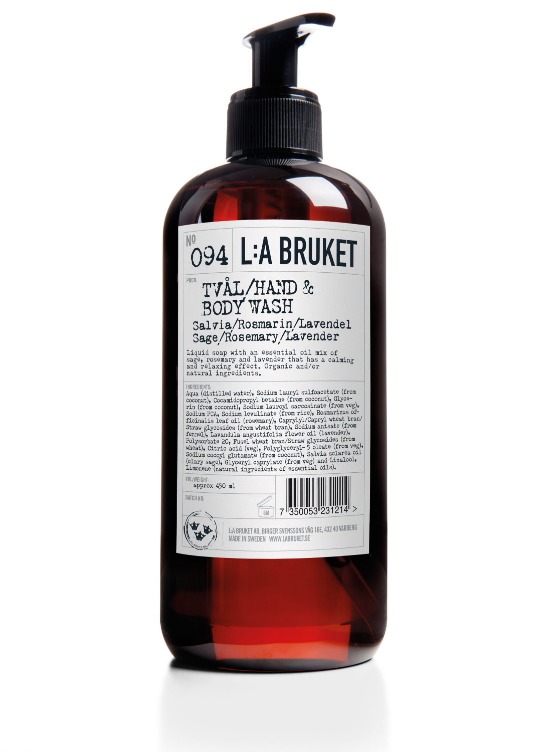 Liquid soap/body wash in a brown bottle with pump with scents of sage, rosemary and lavender, containing 450 ml.