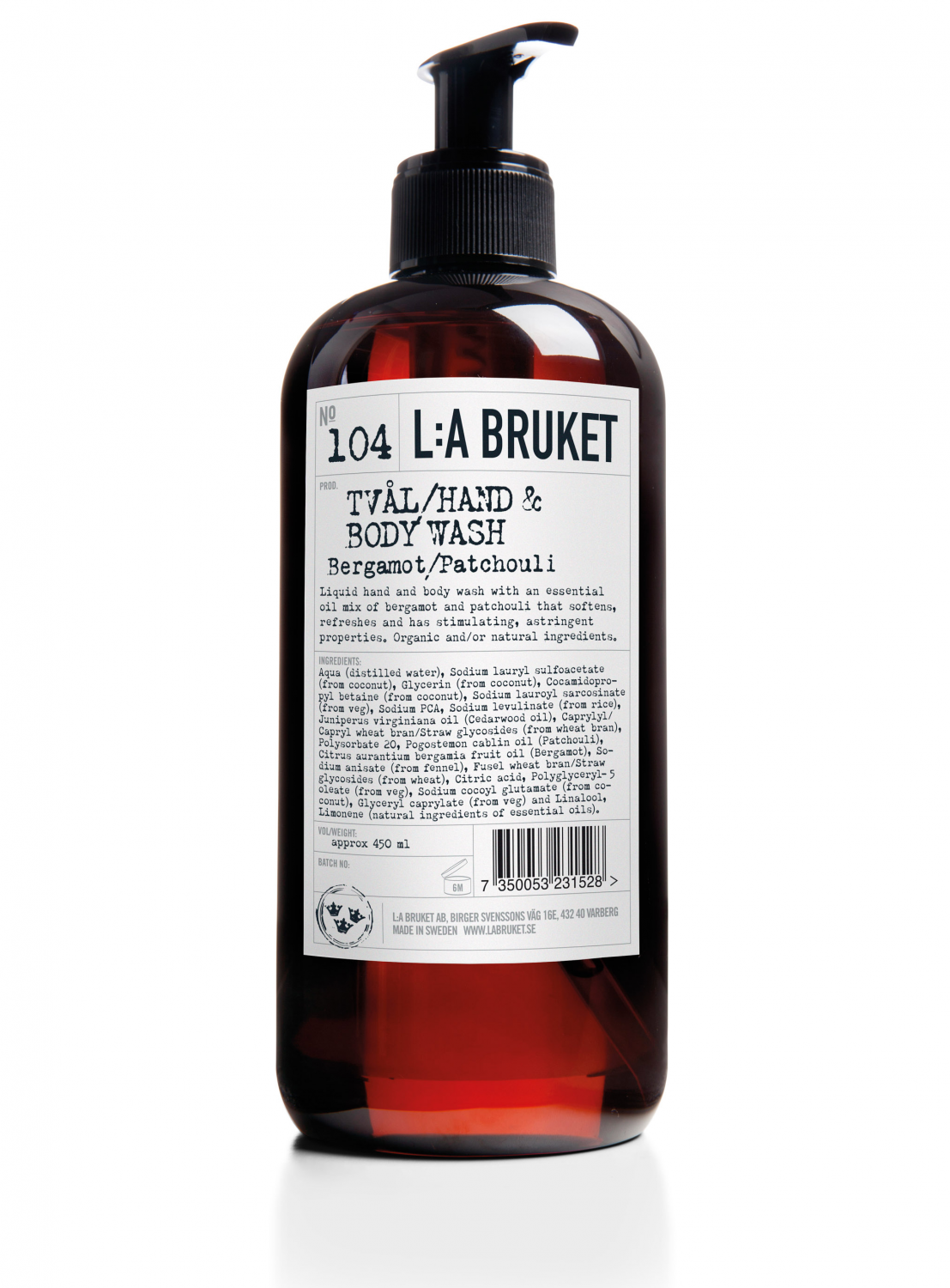 Liquid soap/body wash in a brown bottle with pump with scents of bergamot and patchouli, containing 450 ml.