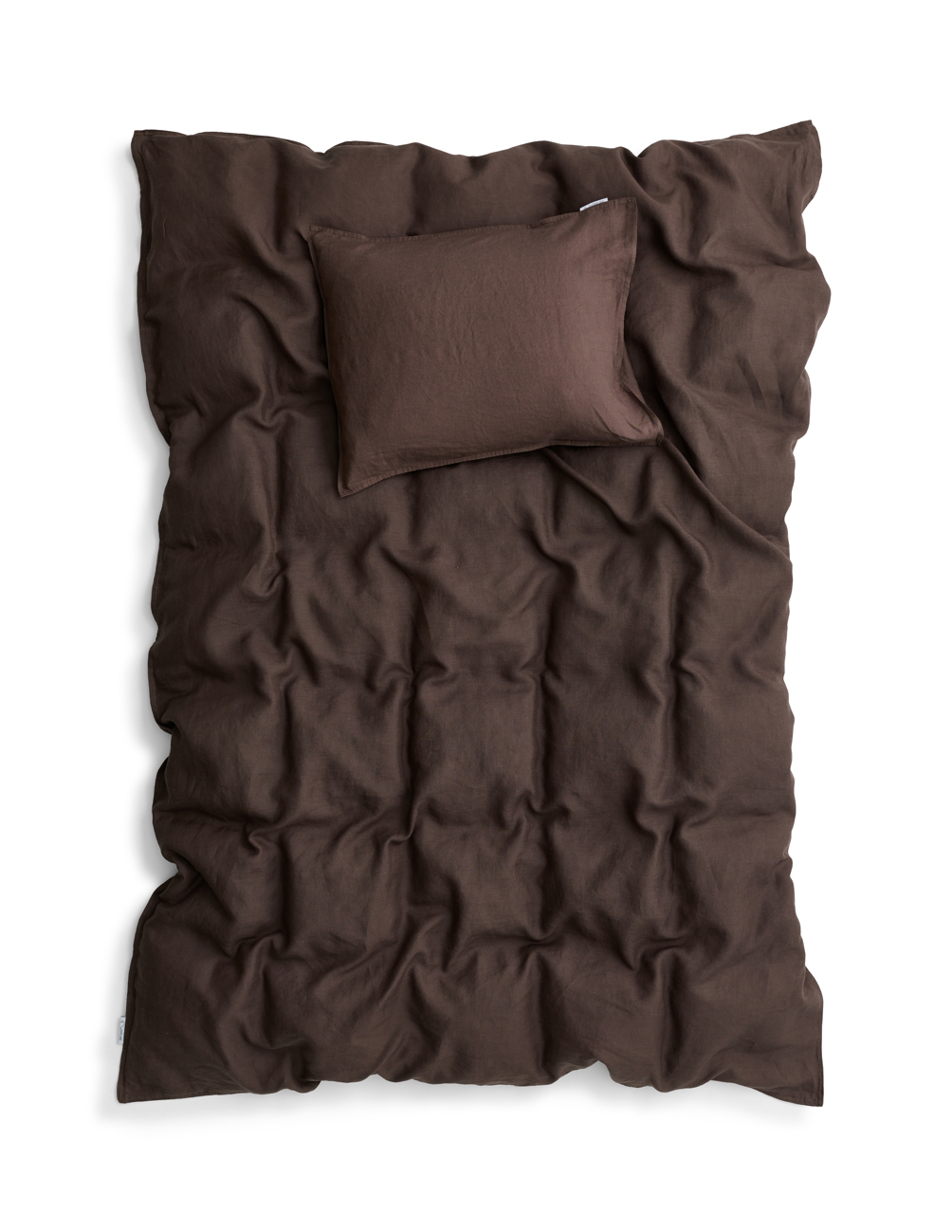 Duvet Cover Set Linen Dark Brown