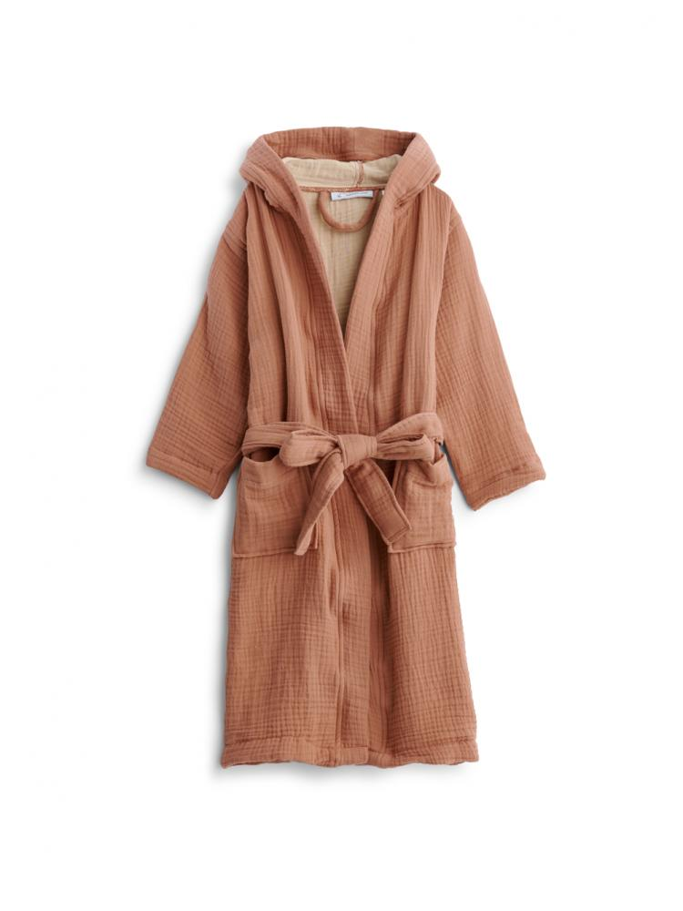 Kids Muslin Bathrobe Terracotta