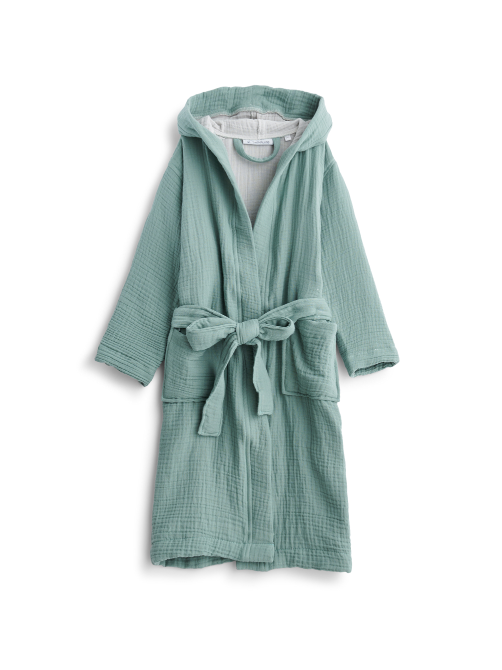 Kids Muslin Bathrobe Mineral Green