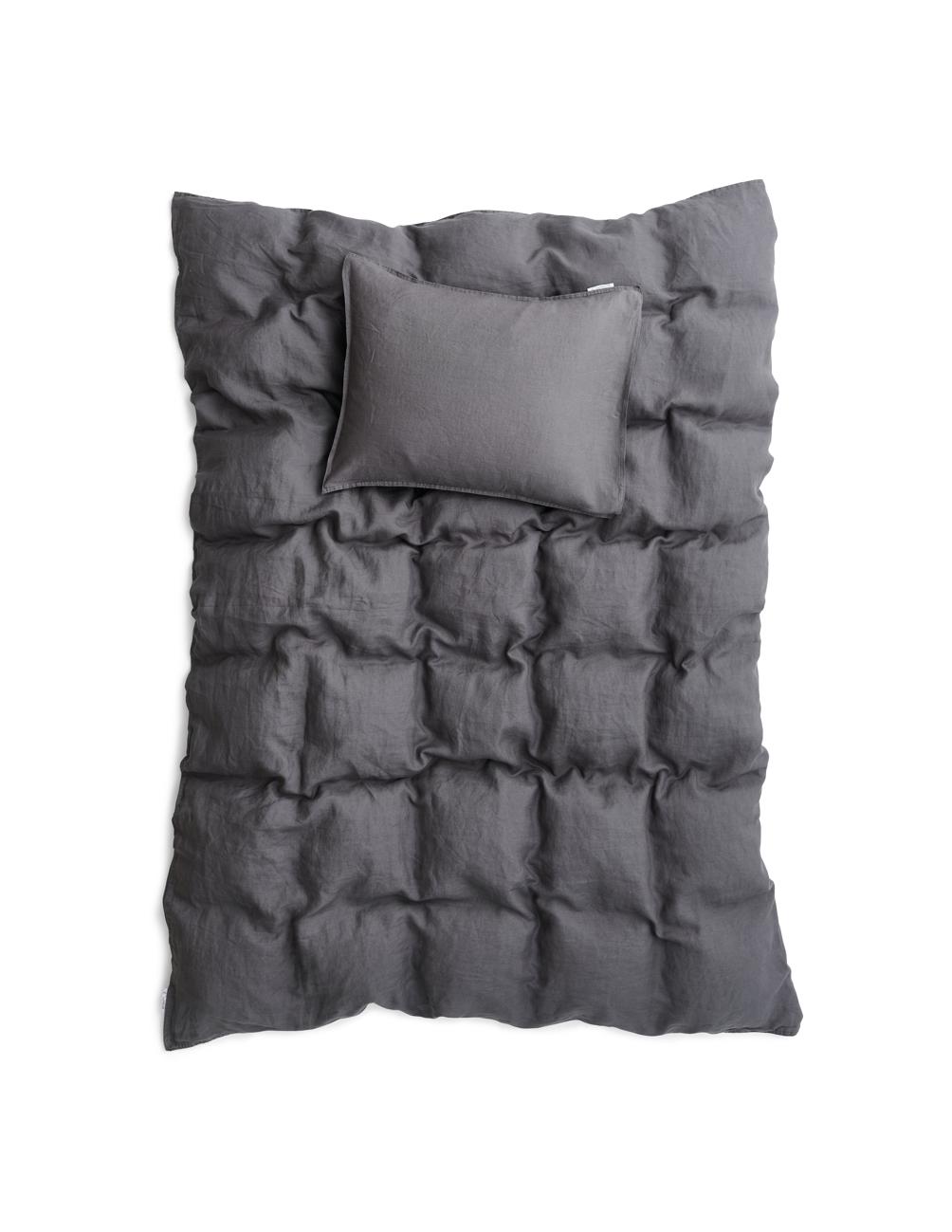 Duvet Cover Set Linen Dark Grey