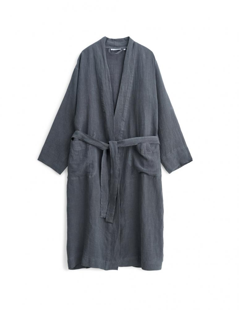 Linen Bathrobe Dark Grey