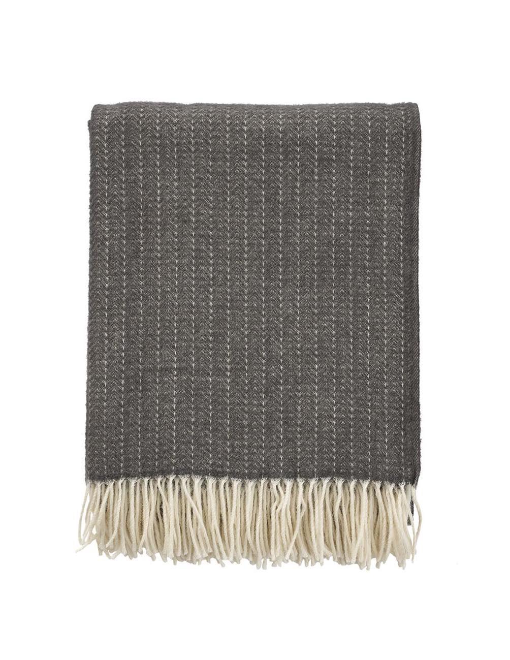 Pin Stripe Dark Grey Filt/ullpläd (Cashmere/mer...