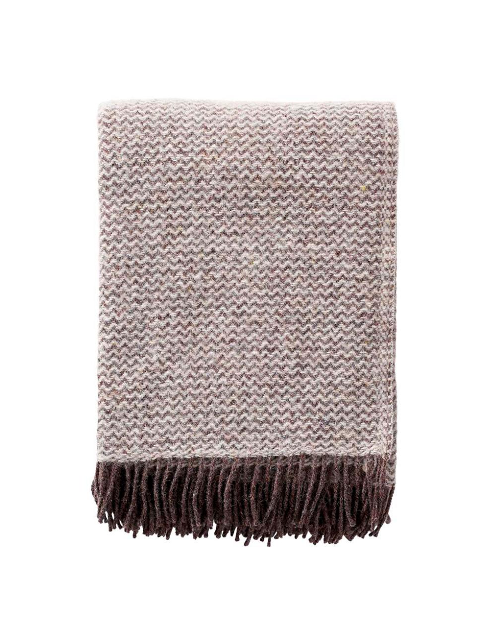 Wave Natrual Brown Wool Blanket