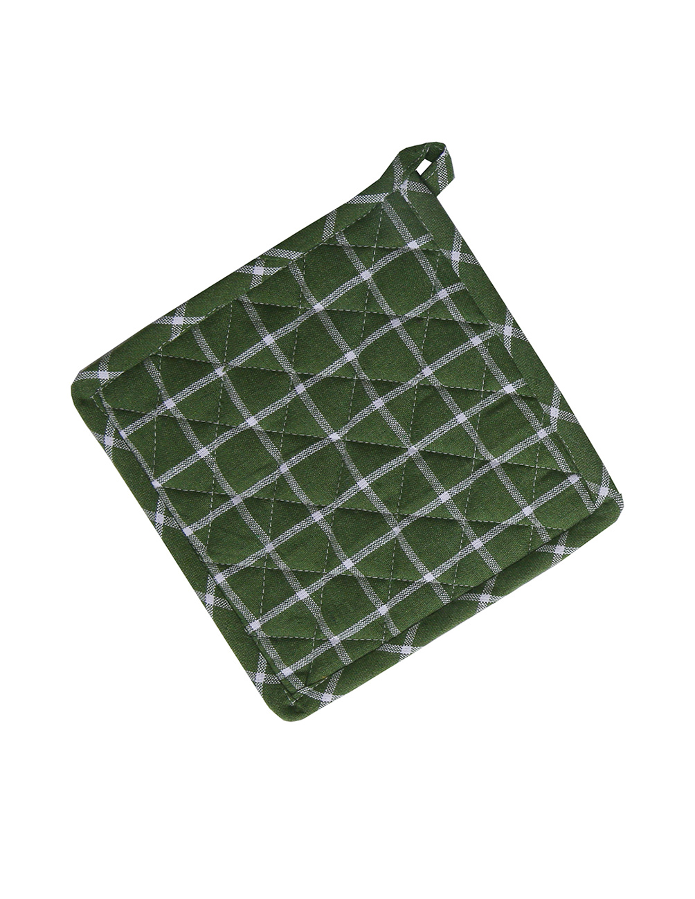 Potholder Recycled Green/White Checkered
