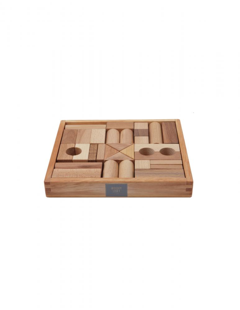 Natural Blocks in Tray - 30 Pieces