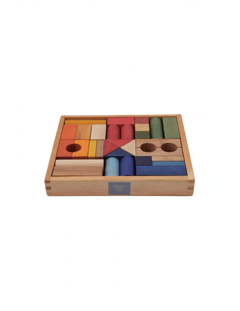 Rainbow Blocks in Tray - 30 Pieces