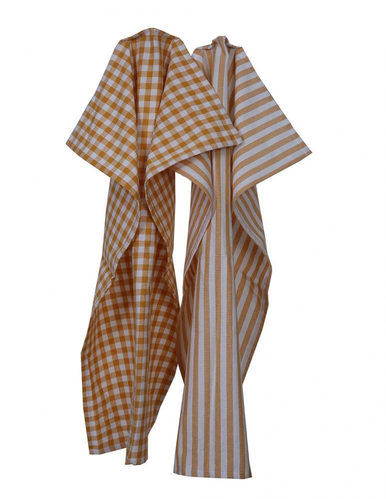 Kitchen towel Saffron/White Pattern 2-pack