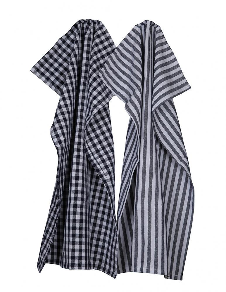Kitchen towel Gray/White Checkered 2-pack