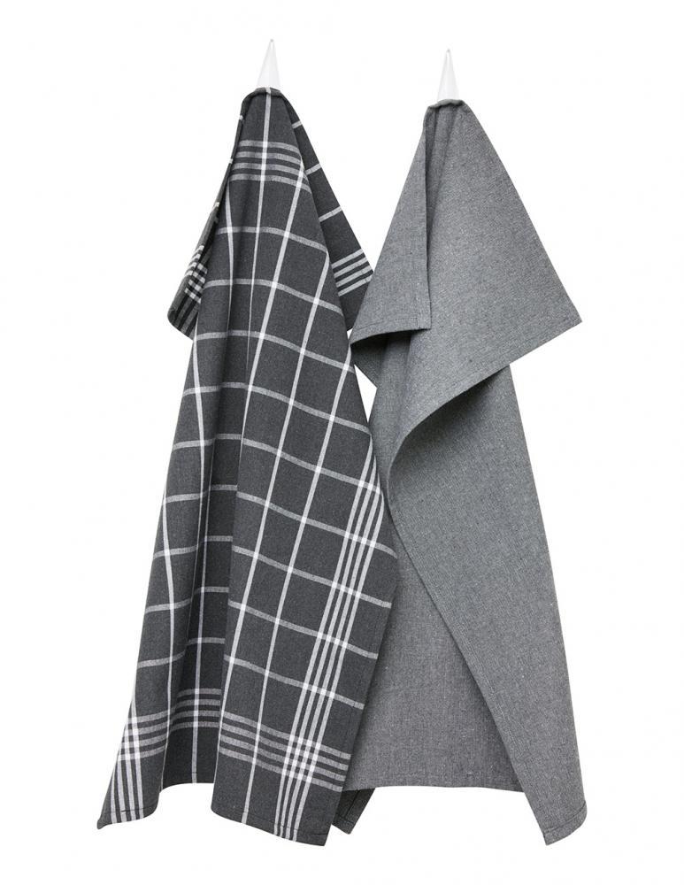 Kitchen towel Dark gray/White Checkered 2-pack
