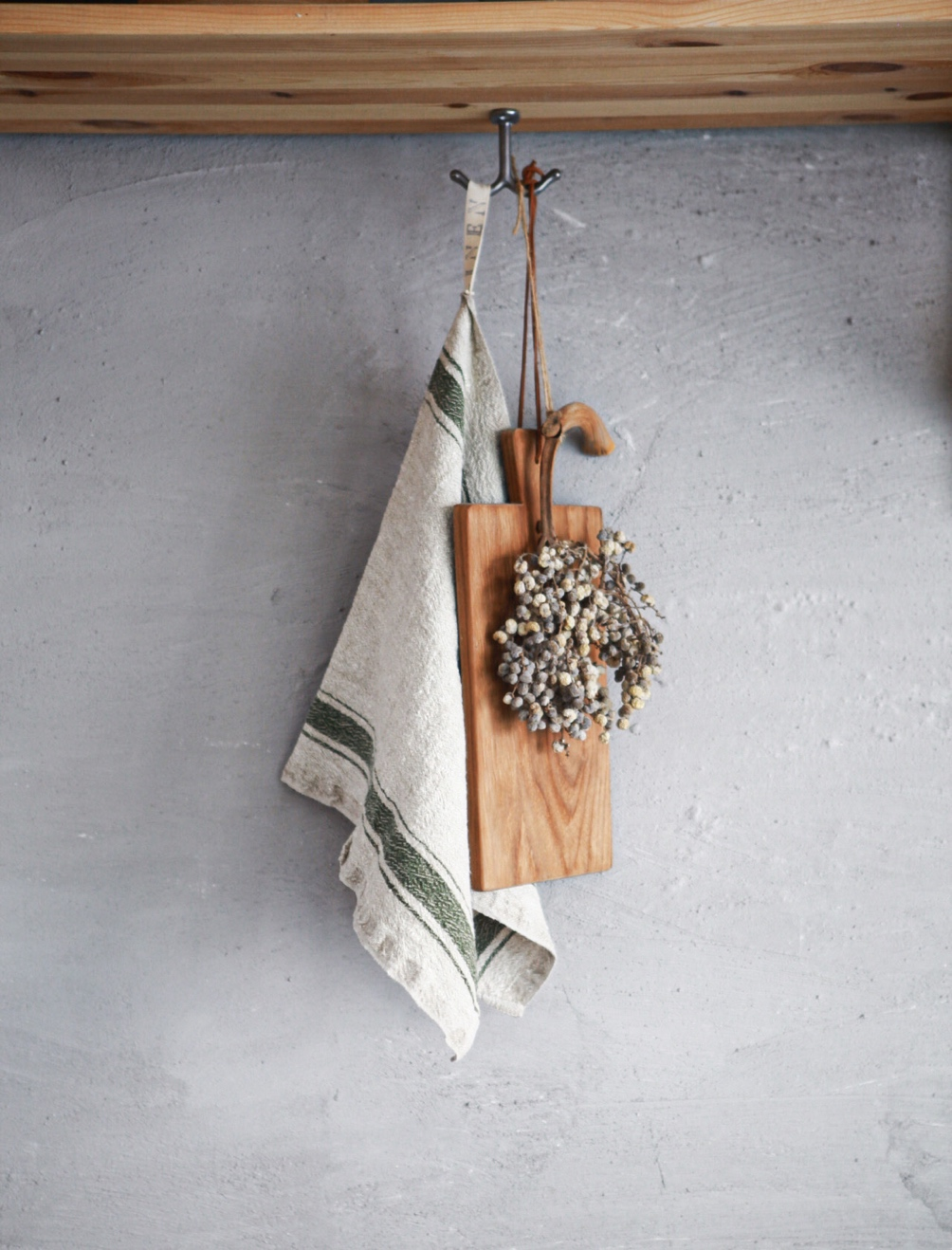 Vintage kitchen towel green stripe linen linen tales