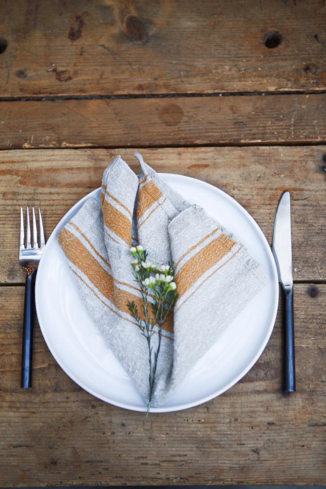Vintage linen napkin mustard yellow stripe