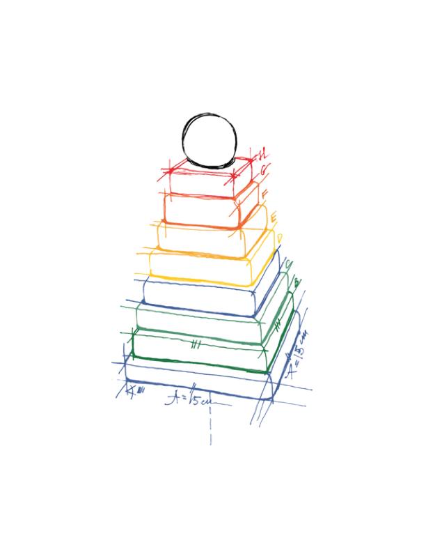 Stapelleksak Pyramid Regnbåge