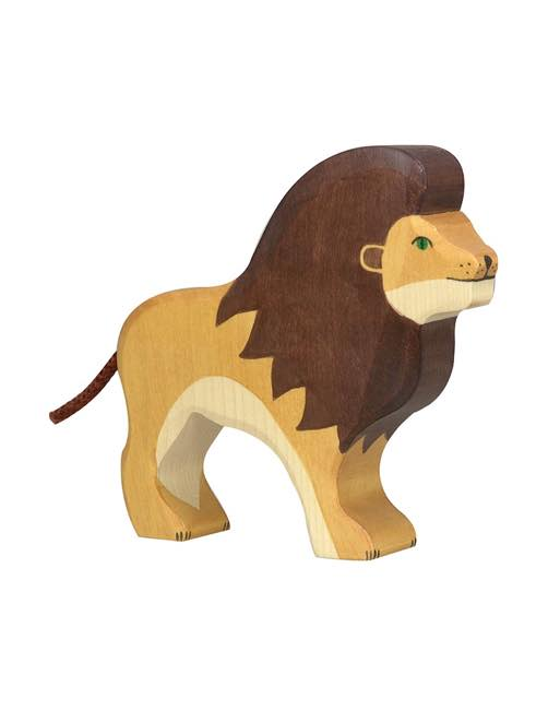 Stort Lejon Träfigur Holztiger