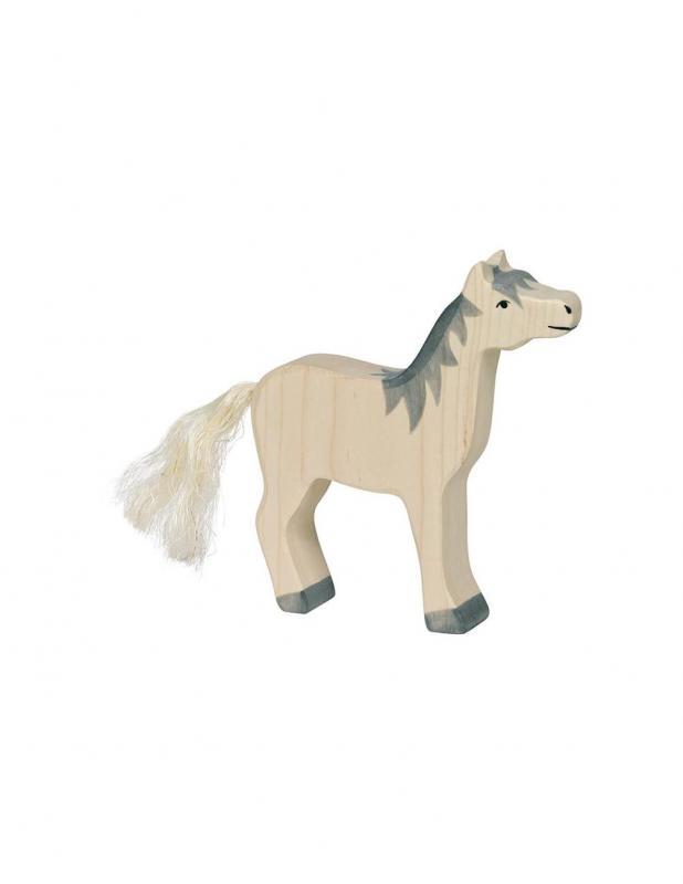 Vit Häst Träfigur Holztiger