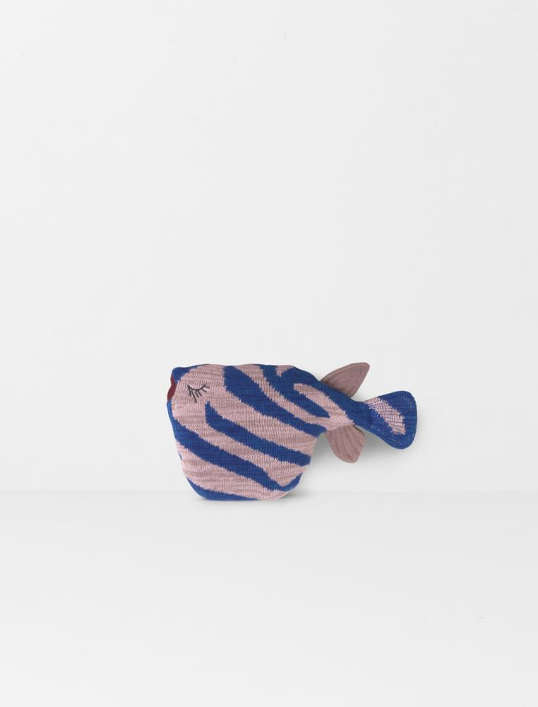 Knitted Stripey Fish Cushion