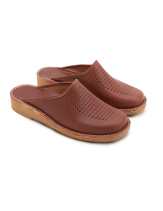 Brown Slippers Patrik Vegetable Tanned Leather Perforated