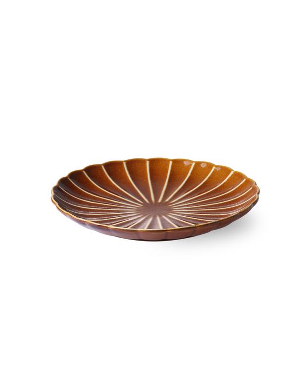 Kyoto Striped Brown Dessert Plate