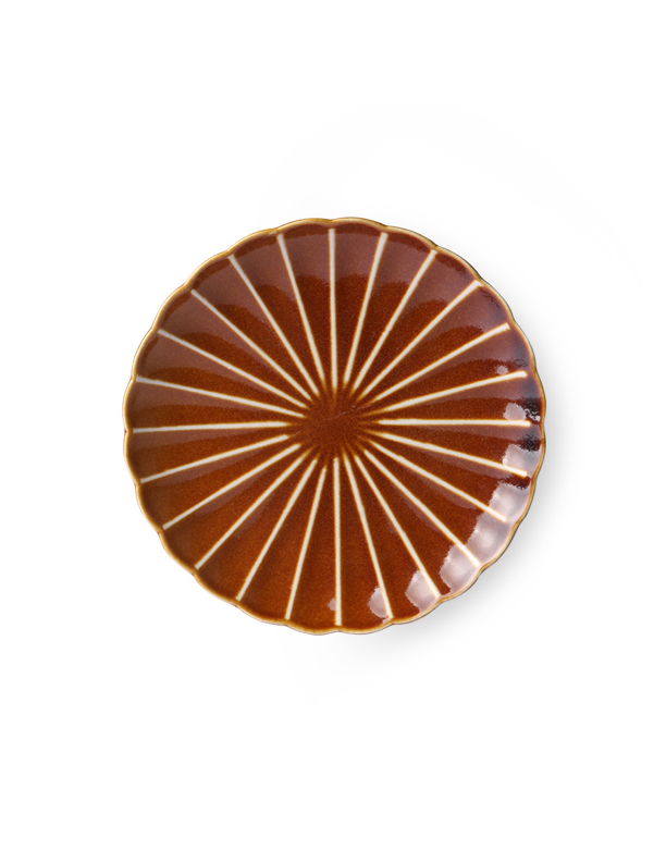 Kyoto Striped Brown Dessert Plate