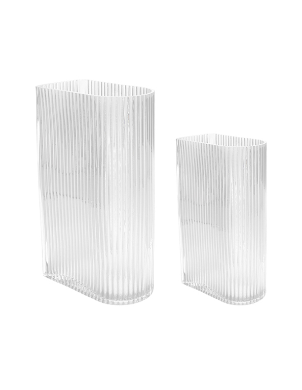 Clear Ribbed Vase Large