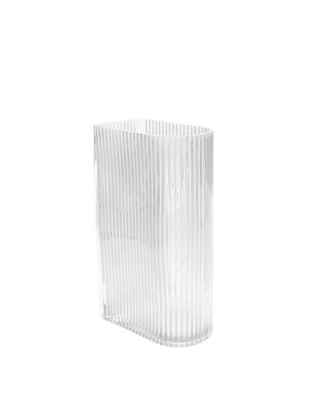 Clear Ribbed Vase Small