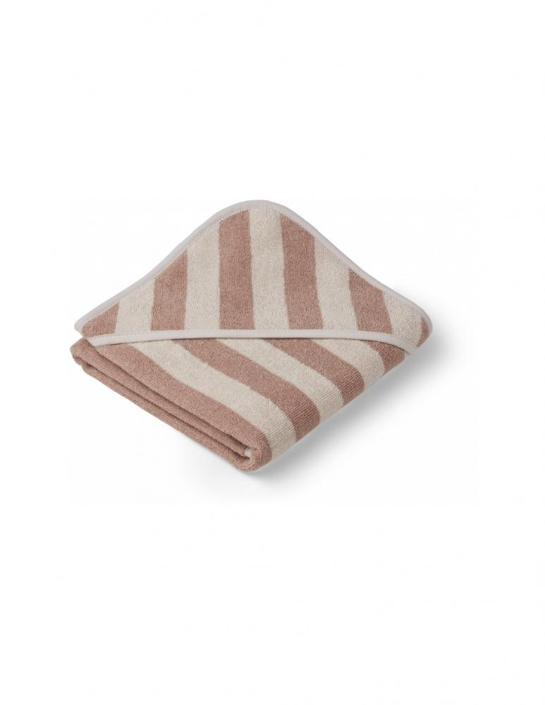 Alba Hooded Baby Towel Rose/Sand