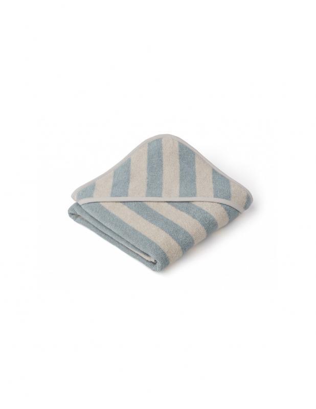Alba Hooded Baby Towel Sea Blue/Sand
