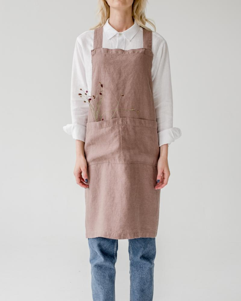 Ashes of Rose Linen Crossback Apron