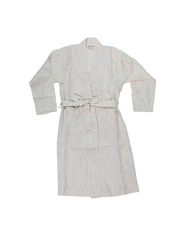 Linen Bathrobe Pinstripe - White/Grey