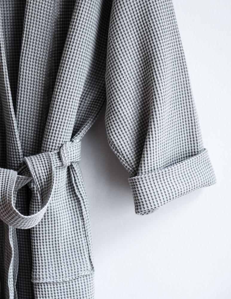 Waffle Bathrobe Light Grey
